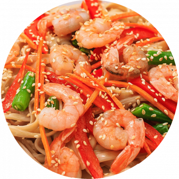 Royal Red Shrimp Stir-Fry/Rice