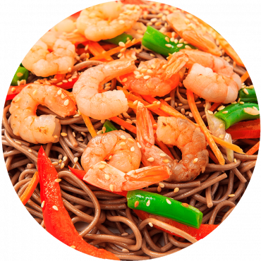 Royal Red Shrimp Stir-Fry/ Buckwheat noodles