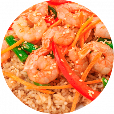 Royal Red Shrimp Stir-Fry/Egg noodles